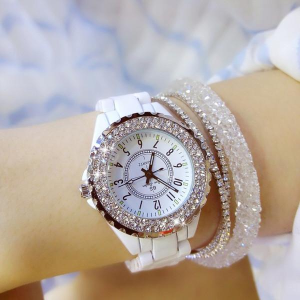 Frauen Strass Uhren Dame Diamant Stein Kleid Uhr schwarz weiß Keramik großes Zifferblatt Armband Armbanduhr Damen Kristall Uhr