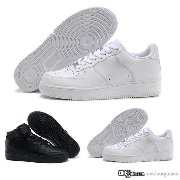 Compre 2019 Nike Air Force One Zapatos Clásicos MID 07 One Hombres Mujeres Zapatos Casuales 1 Zapatillas Deportivas Blancas Negras Zapatillas