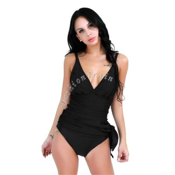 Col V Maillot De Bain Dos Nu Bikini Sexy Robe De Bain Asymétrique One Piece Femmes Jupe Avec Pad Camisole De Mode 27fyf1