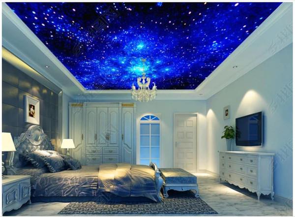 Grande carta da parati foto 3D personalizzata soffitti affrescati carta da parati Fantasy universo blu stellato soggiorno zenith soffitto murale wall sticker