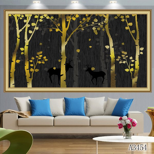 Mosaic home decor gift gold tree deer cloud 5D diy diamond painting cross stitch kit full round&square diamond embroidery wisdom toy A3454