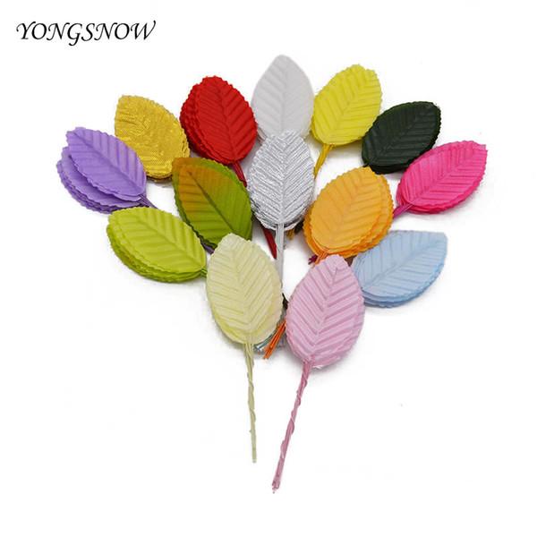 10pcs Artificial Flower Nylon Silk Leaf Green Leaves For Wedding Decoration DIY Wreath Gift Scrapbooking Craft Fake Flower 8Z