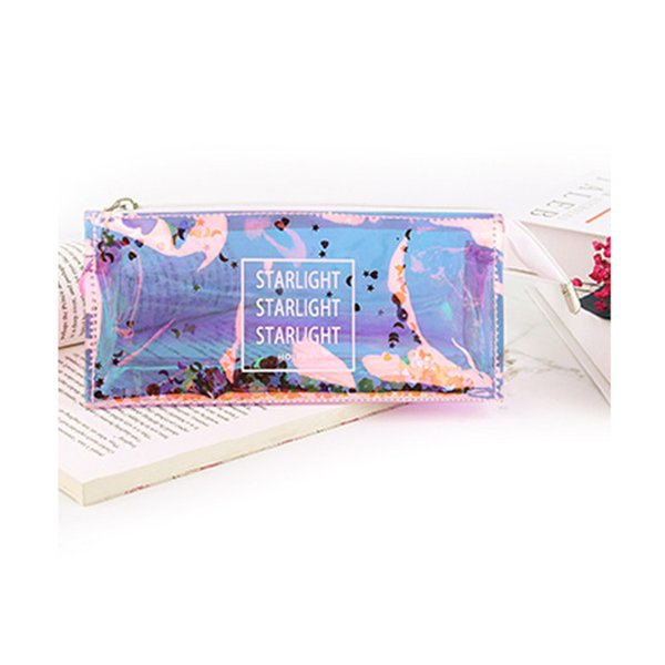 Women's Makeup Bags Cosmetic Bag Cool Transparent Sequin Girls PVC Reflective Pen Pencil Case Toiletry Organizer Pouch