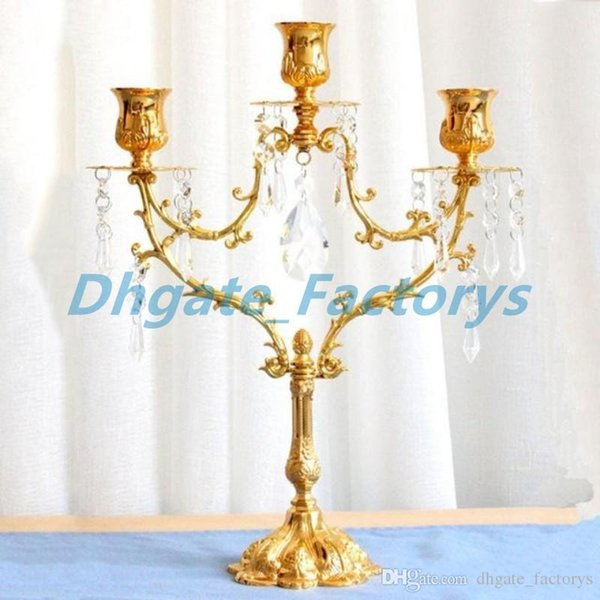 3 Head Metal Silver/Gold Plated Candle Holder Crystal Chain Candle Stand Wedding Candelabra Centerpiece Decoration Candlestick