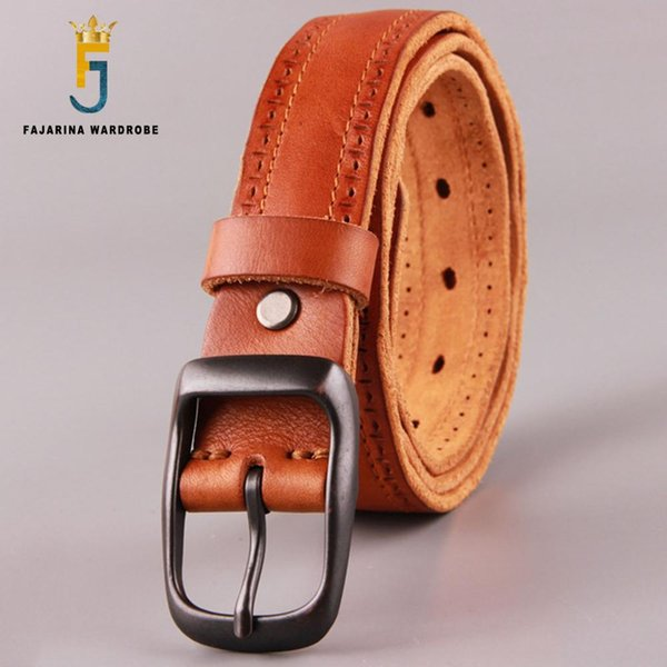 FAJARINA High Quality Fashion Unisex Retro Belts Mens Black Striped Geunine Leather 33mm Belt Female Accessories Jeans N17FJ484