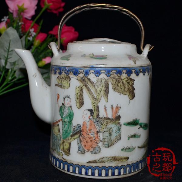 Jingdezhen Blue and White Porcelain Pot Collection Vintage Porcelain Ceramics Color Waiting Female Figure Portable Pot Best selling ornament