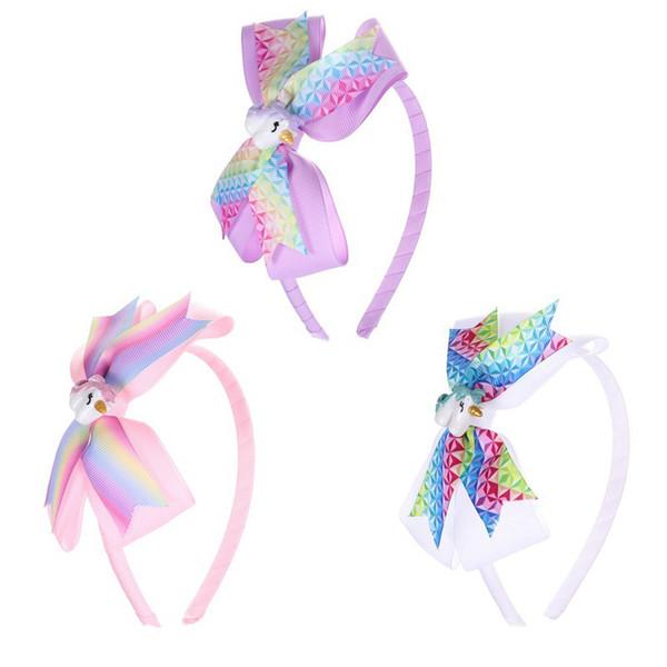 Neue Ankunft Designer Stirnbänder Kinder Einhorn Stirnband Rippe mit 4 Zoll Bogen Kinder Stirnband Urlaub Party Headwear C1812051