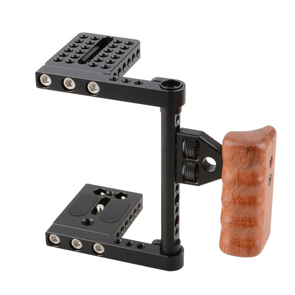 Freeshipping Camera De Fotos DSLR Video Camera Cage With Wooden Handle DSLR Camera Cage Rig Steadicam For Canon Nikon Sony C1392