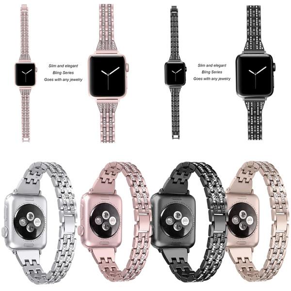 42mm / 38mm Apple Için Yeni Moda Paslanmaz Çelik Watch Band Watchband 40mm / 44mm Serisi 1 2 3 4 Elmas Ince Kayış iwatch Için