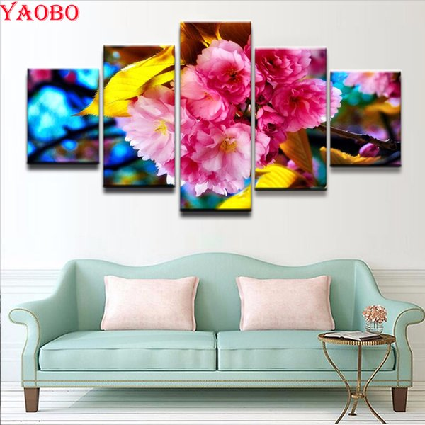 wholesale Diamond Painting 5 pieces Spring Sakura Blossom Cross Stitch Resin Stone Square Drill Picture Pasted Diamond Embroidery sale
