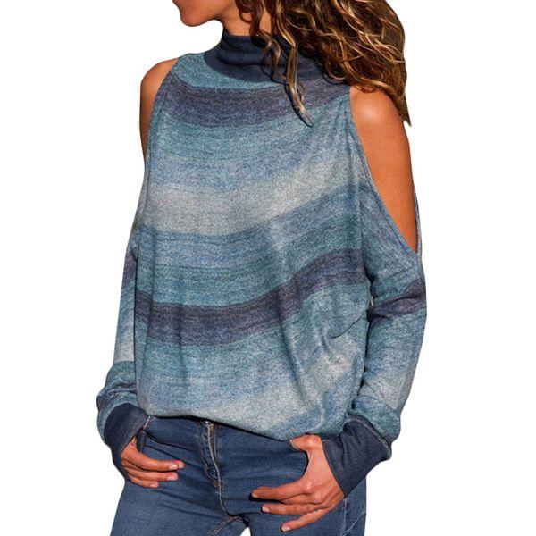 Рубашка женщины холодное плечо блузка геометрическая цветочный принт перемычка дамы топ полосатый печатный топ с длинными рукавами
