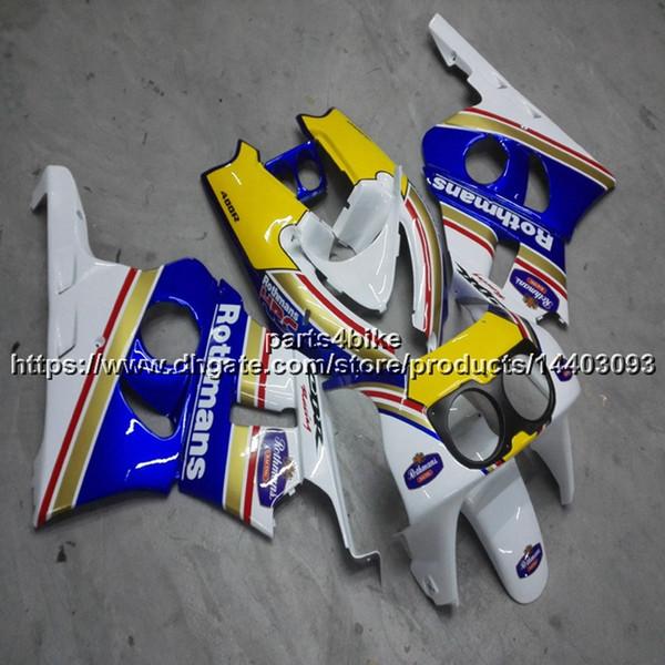 Custom+Screws ABS yellow blue motorcycle hull For Honda CBR400RR NC29 1990-1994 motorcycle panels