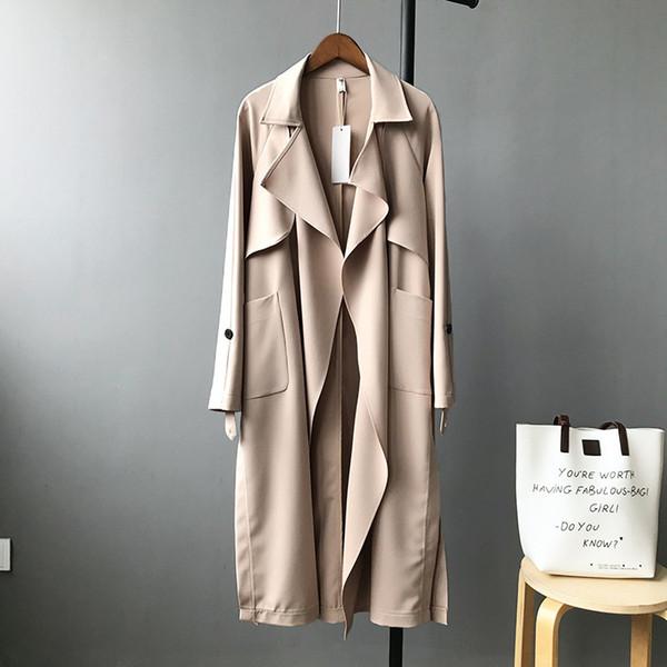 Lâche Casual Designer Femmes Printemps Trench-Coat Pleine Manches Européenne Coupe-Vent Long Point Ouvert Autum Streetwear