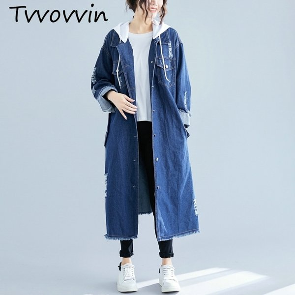 Korean Style Denim Trench Coat For Women Casual Autumn And Spring New Ladies Windbreaker 2019 Hooded Women Clothing C449