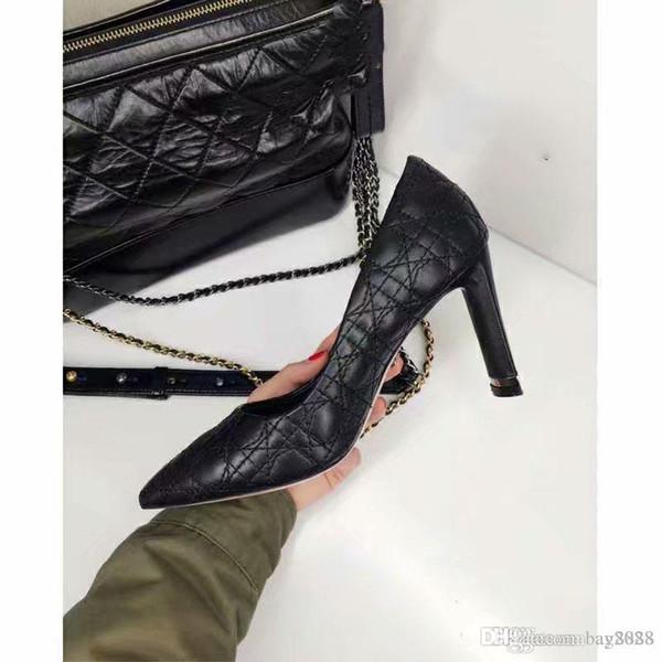 Nova Moda, Sapatos de Salto Alto Femininos Fabricação de Cabedal Caixa original que envia altura do salto: 8 cm Sapatos rebite