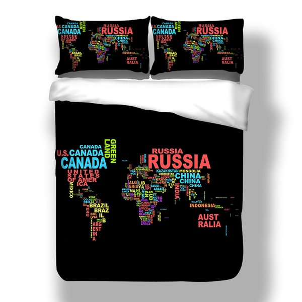 World map series Bedding Set Twin Full Queen Size 2/3pcs with pillowcas Comforter Cover Set for kids boys black of bed set