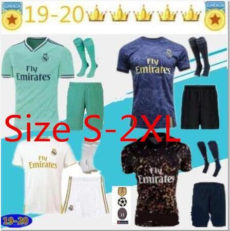 nuovo 2019 Real madrid maglia da calcio Kroos Sergio Ramos 19/20 Real Madrid Champions League PATCH calcio shirt formato uniforme S-2XL