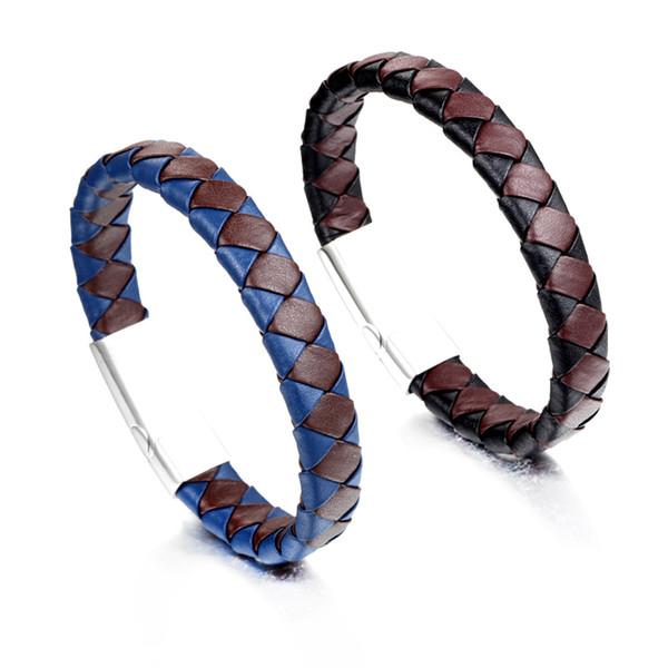 2018 Fashion Bracelets Men Female Custom Made Titanium Jewelry Braided Magnetic Buckle Handmade Genuine Leather Bracelet