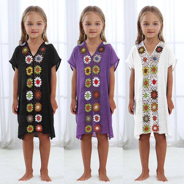 Enfant enfants crochet fleur Dreess Pareo plage Maillot de bain Coverup Beachwear Kids Shirt Cover Up Et Tuniques Robes Coverups LJJA2591