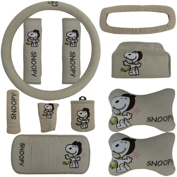 11pcs / set dessin animé Snoopy gris automobile intérieur voiture doog couvre oreiller cou coussin universel de voiture de rembourrage