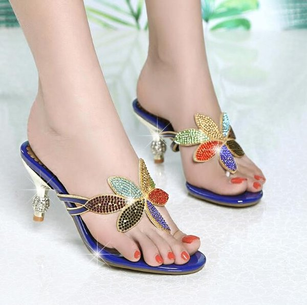 Designer Women Seaside holiday sandals High-heeled Beach slippers colour Rhinestone Flip Flops Slippers outdoors Non-slip Slippers
