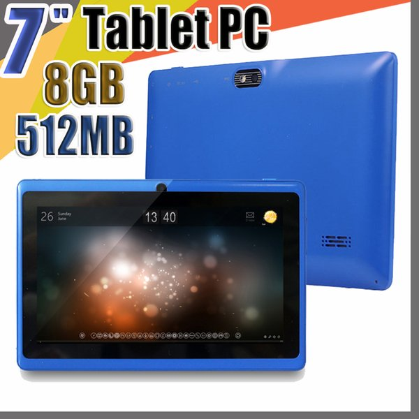 """20X Allwinner A33 Quad Core Q88 Tablet PC Dual Camera 7"""" 7 inch capacitive screen Android 4.4 512MB 8GB Wifi Google play store flash C-7PB"""