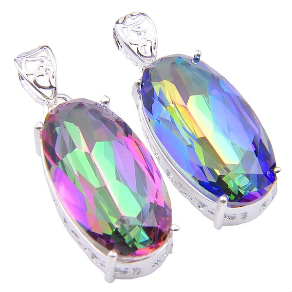 15*28mm Mix Color 4PCS/Lot Classic Blue Mystic Topaz Gemstone 925 Silver Pendants for Necklace Party Holiday Gifts