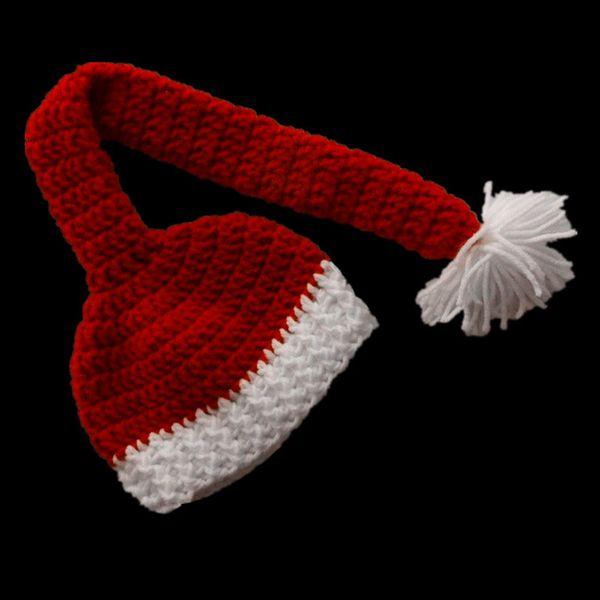 Crochet Santa Elf Hat,Handmade Knit Baby Boy Girl Long Tail Christmas Hat,Kids Winter Cap,Infant Newborn Photo Prop