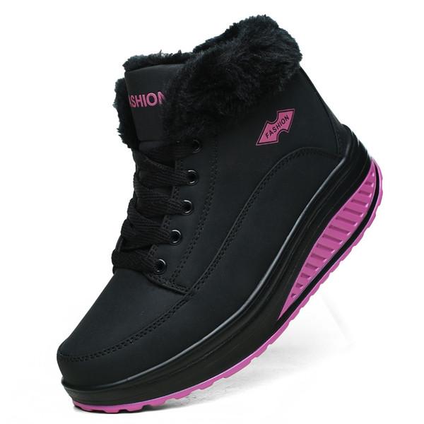Nuevo Calzado de running para mujer Calzado deportivo para mujer Suave y cómoda felpa de invierno cálido botas de nieve para mujer Zapatillas de deporte size35-40 # 174804