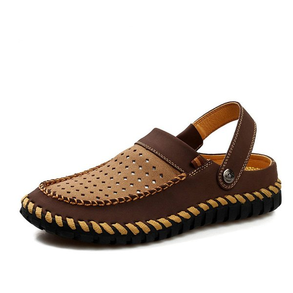 QWEDF Genuine Leather Sandals Men Flat Heel Summer Shoes 2019 Mens Sandals Male Casual  Shoes Soft Beach SY-76