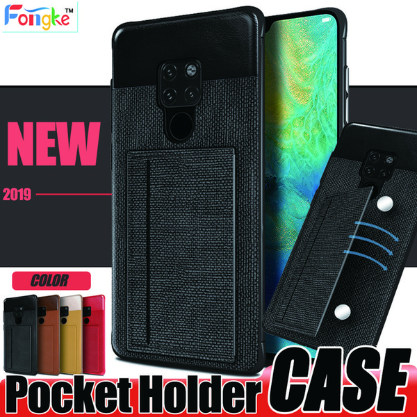For Huawei Mate 20 pro Samsung Galaxy S10 S10e iPhone X XA MAX Card pocket Holder PC soft edge texture leather cell Phone cases Back Cover