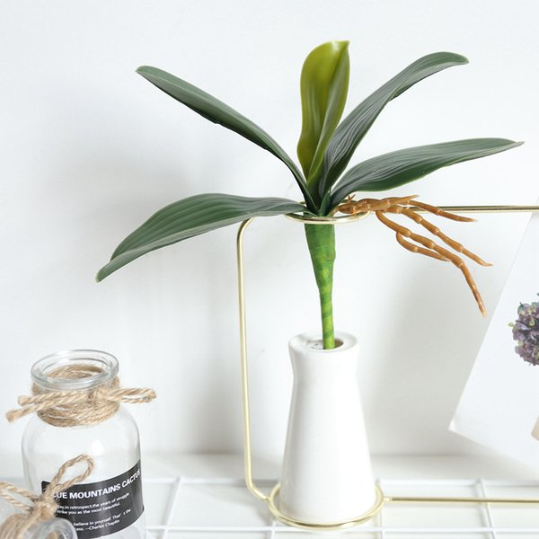 Artificial Butterfly Orchid phalaenopsis Leaves Bush Simulation Grass Floral Bouquet for Crafts Wedding Decor DIY Making Photography Props
