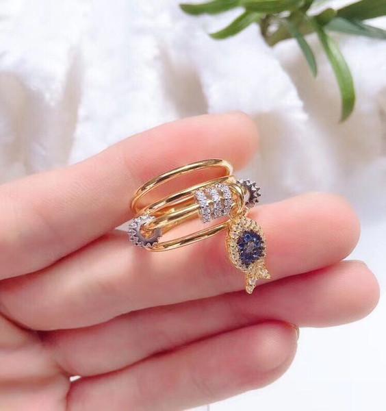 Designer Ring Luxury Female Design Ring Small Fish Jewelry 18k Gold-plated Yellow Diamond Ring Wedding Engagement