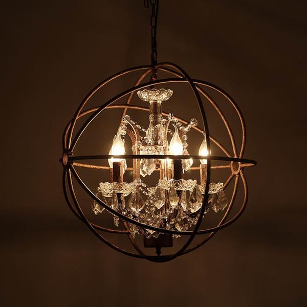 Retro lampadari di gabbia di ferro ruggine d'epoca E14 grande lampadario di cristallo di stile di lustro Lampada a LED Illuminazione per soggiorno bar camera da letto