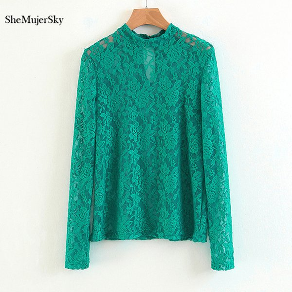 SheMujerSky Autumn Green Floral Lace Blouses Long Sleeve O-neck Shirts Women 2018 Elegant Ladies Tops