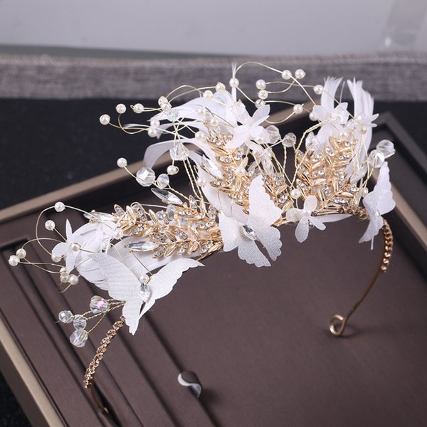 New Fashion Feather Bridal Hairband Crown Crystal Pearl Princess Birthday Party Crown Tiaras Wedding Hair Accessories Headpieces