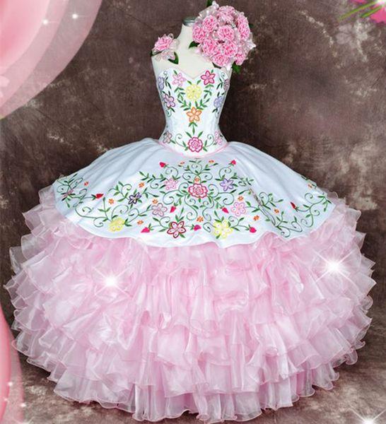 Sweety Pink Sweetheart Multi colore ricamo Quinceanera Abiti Ruffles Organza Sweet 16 Abiti Puffy Quinceanera Ball Gown