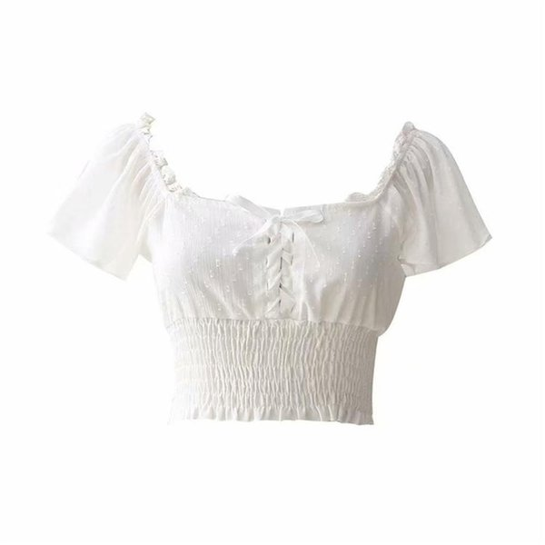 Cosplaydiy Steampunk Victorian Vintage Party Club Wear Lace-up Shirt Gothic Half Short Sleeve Off Shoulder Tops L320
