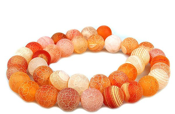ORGANGE 4MM 8mm 6MM 10MM Weathered Agates Natural Stone Beads Frost Onyx Round Loose Beads Necklace Bracelet Earrings DIY Jewelry Making
