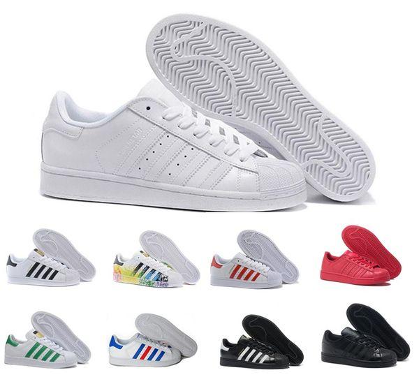 Super Star White Casual Shoes Hologram lridescent Junior Superstar Pride Women Mens Trainers Superstar shoes size 36-45
