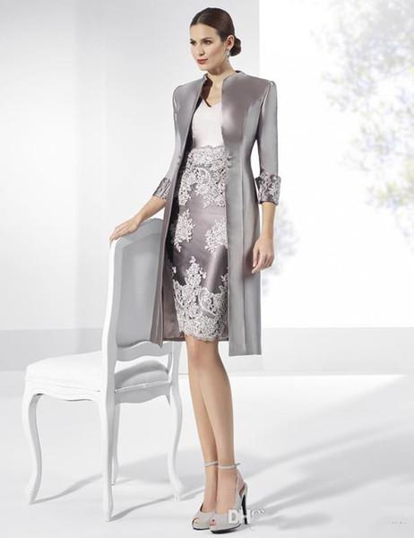 Hohe Qualität Hüllen-Spitze-Mutter des Braut-Kleid mit V-Ausschnitt mit langen Ärmeln Jacken Wedding Guest Kleid knielangen Taft-formalen Kleidern