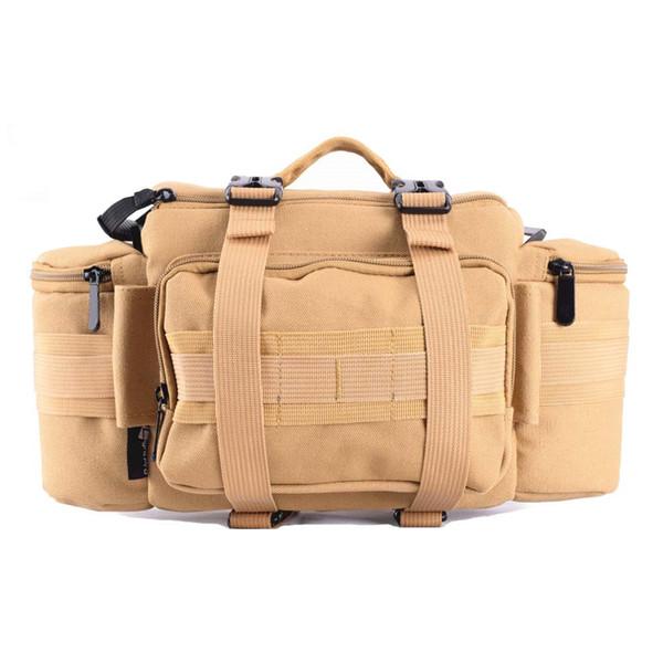 Foto DSLR Multifunktionale Taille Rucksack Leinwand Taktische Fall Kamera Soft Pack Molle Einzelne Umhängetasche w / Rain Cover