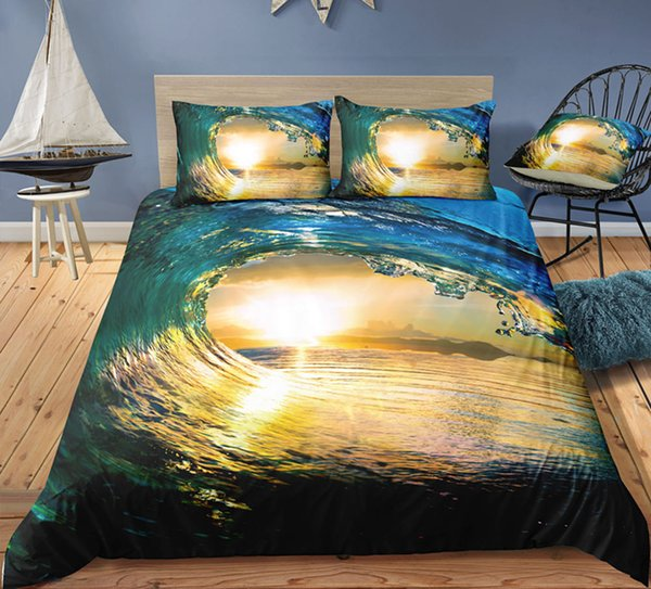 Dusk Sea Printed Bedding Set Double Size Spectacularl 3D King Duvet Cover Queen Home Textile Single Bed Set With Pillowcase 3pcs