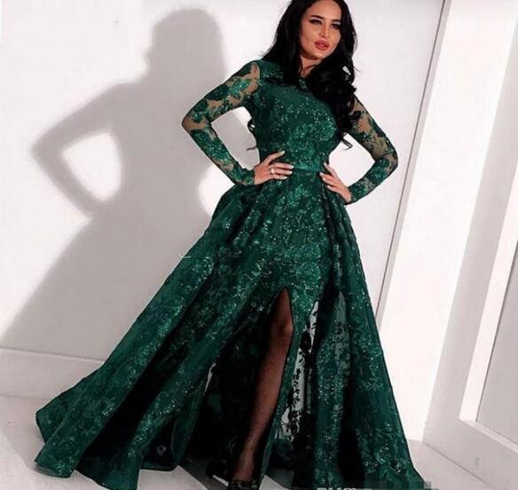 Dark Green Arabic Lace Mermaid Evening Dresses With Detachable Train Bateau Neck Sequined Prom Gowns Long Sleeves Side Split Formal Dress