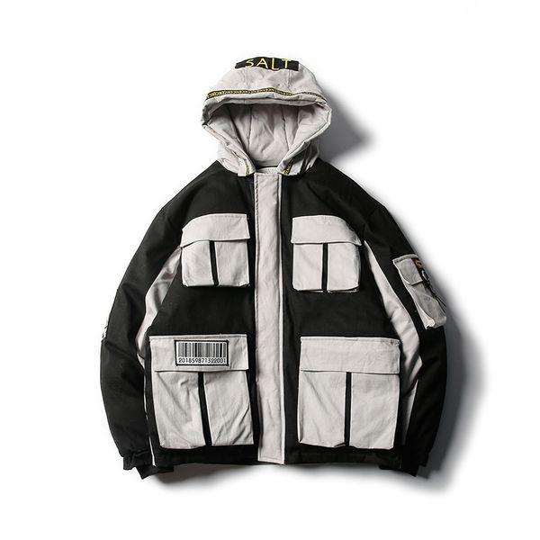 Multi-pocket hooded cotton padded varsity ma1 bomber reflective jacket mens styles for men students in ulzzang, South Korea windbreakers