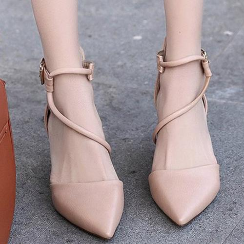 Designer Dress Shoes Women Cross-Tied Pumps Pointed Toe High Thin Heels Hot Sexy Nude Stiletto Heel Sandals Party Wedding Fashion Size 39