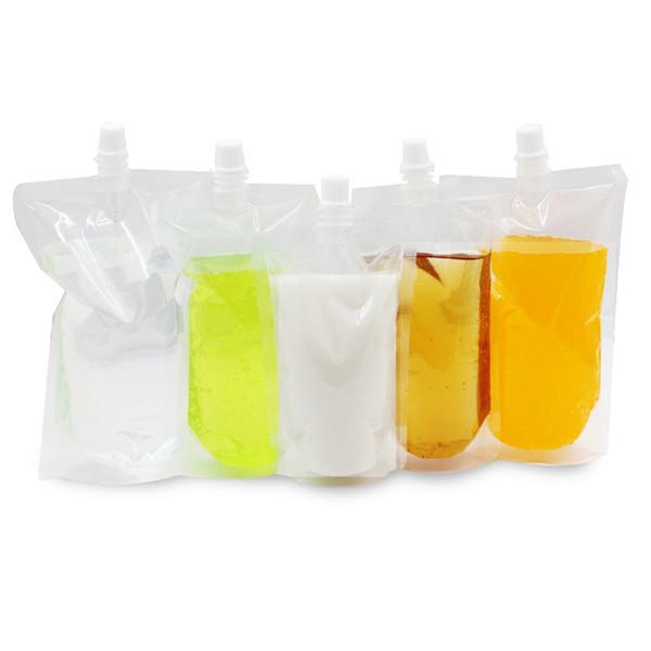 Fruchtsaft Lagerung Transparente Kunststoff Tülle Tasche Einzelhandel Trinkmilch Klar Poly PE Getränkepaket Tülle Tasche