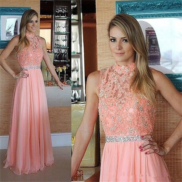Elegant Pink Evening Dresses Chiffon A-Line 2019 Prom Dresses High Neck Appliques Beaded Tank Sweep Train Vestido De Party Gowns B18