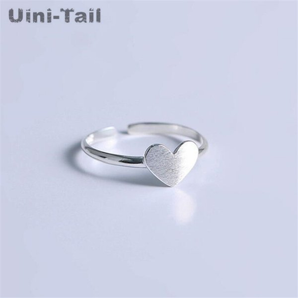 Uini-Tail 2019 new listing 925 sterling silver simple temperament small fresh heart-shaped ring sweet brushed high quality ED476
