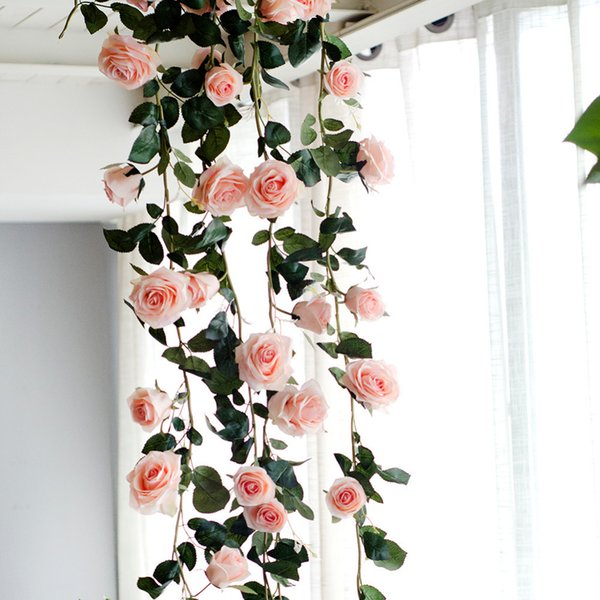 180cm Artificial Rose Flower Vine Wedding Decorative Real Touch Silk Flowers With Green Leaves For Home Hanging Garland Decor Q190522